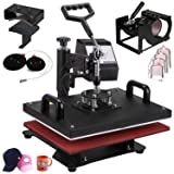 VEVOR Heat Press 12X15 Inch Heat Press Machine 9 in 1 Professional Multifunctional Sublimation Swing Away Heat Press 360 Degree Rotation Heat Press Machine for T Shirts Hat Mug Cap Plate (Tamaño: 9 in 1)