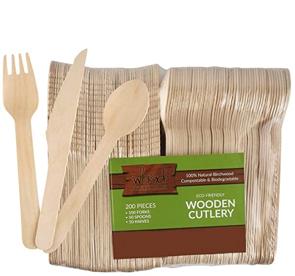GreenWorks Biodegradable Compostable Disposable CPLA Cutlery Set,150 Ct 50 Forks,50 Spoons,50 Knives Heavyweight Cutlery Combo