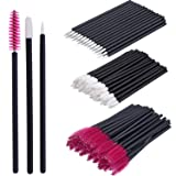 eBoot 150 Pieces Disposable Lip Brushes Eyeliner Brushes Eyelash Mascara Brushes Makeup Tool Kits (Rose Red) (Color: Rose Red)