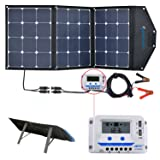 ACOPOWER 120W Portable Solar Panel, 12V Foldable Solar Charger with 10A LCD Charge Controller in Suitcase (Color: 120w)