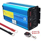 Strawberry Pure Sine Wave Car Power Inverter 3500W /7000W DC 12V/24V to AC 220V Converter,Dual Screen Display with Wireless Remote Controller and Cable