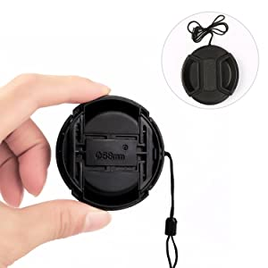 58 MM Camera Lens Cap,Hapurs Snap-On Camera Lens Cover Screen Protector and Camera Cleaning Tools Accessories for Nikon, Canon, Sony,Sigma & Other DSL