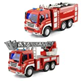 Gizmovine Inertia Toy Early Engineering Vehicles 1:16 Scale Friction Powered (Fire Truck Set of 2) (Color: Fire Truck Set of 2)