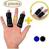 BodyMoves Finger splints Plus 2 Nylon Sleeves for Trigger Finger Mallet Finger Broken Finger Rheumatoid Arthritis Post Operative Care (Midnight Black) (Color: Midnight Black)