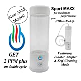 H2 USB Sport MAXX Hydrogen Water Generator with Glass Bottle and Inhaler Adapter (White) (Color: White)