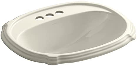 KOHLER K-2189-4-47 Portrait Self-Rimming Bathroom Sink, Almond