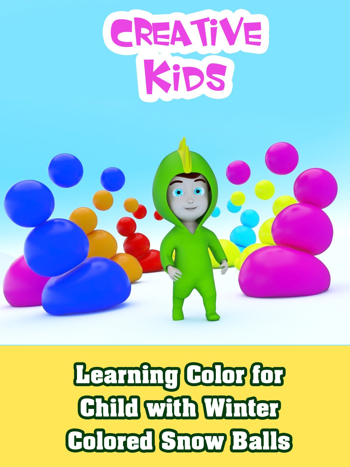 Learning Color for Child with Winter Colored Snow Balls
