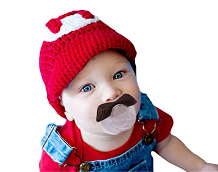 Mustache Pacifier for Babies ~ BPA Free ~ Natural Orthodontic Shaped Teat to Help Prevent Thumb Sucking