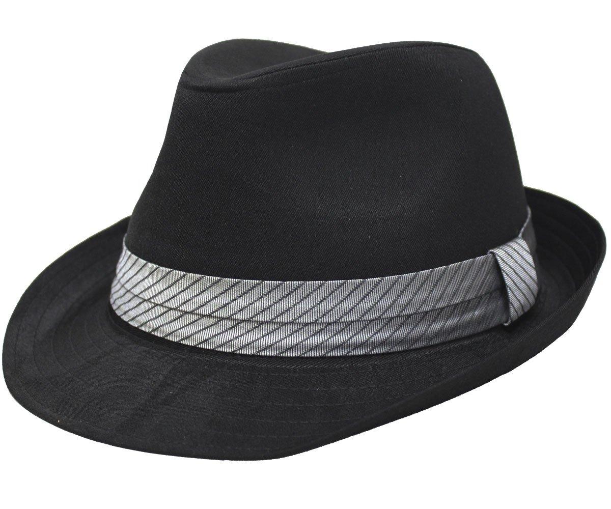 (大きめ61cm)ストライプジャガード帯ブラックボディ中折れハット(中折れ帽子)