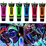 Amareu Glow in Dark Body Paint Body&Face Glow Backlight Neon Fluorescent 0.35oz Set of 6 Tubes (Color: six color, Tamaño: Free)
