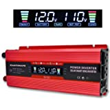 Cantonape 1000W/2000W(Peak) Car Power Inverter DC 12V to 110V AC Converter with LCD display Dual AC Outlets and 2A USB Car Charger for Car Home Laptop Truck (Color: Red, Tamaño: 1000W)