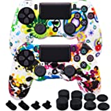 MXRC Silicone rubber cover skin case anti-slip Water Transfer Customize Camouflage for PS4/SLIM/PRO controller x 2(Graffiti Pack) + FPS PRO extra height thumb grips x 8 + Dustproof Plug x 4 (Color: Graffiti Pack, Tamaño: PS4 print pack)