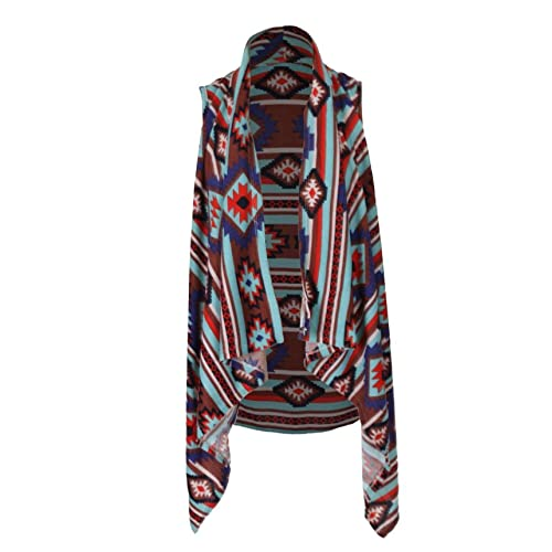 G2 Chic Womens Tribal Print Open Front Cardigan with Asymmetrical Hem