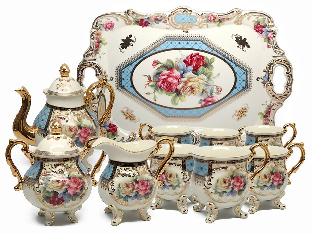 Royal Porcelain 10-Piece Vintage Floral Dining Tea Cup SET, Service for 6, Handmade & Hand-painted, 24K Gold-plated 0