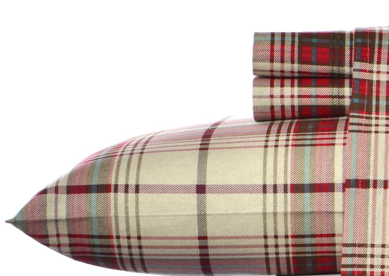 Eddie Bauer Mont Lake Plaid Flannel Sheet Set Red Full