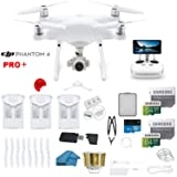 DJI Phantom 4 PRO Plus Drone with 1-inch 20MP 4K Camera KIT with Built in Monitor, 3 Total DJI Batteries, 2 64gb Micro SD Cards, Reader, Guards, Range Extender with Charging Hub     (Color: White, Tamaño: White)