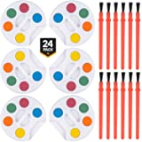 Bedwina Mini Watercolor Paint, (Set of 24) with Paint Brush, for Kids Arts & Craft, School Supply, Party Gift Bag and Decorations