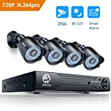 Security Camera System, JOOAN 8 Channel 1080N DVR 4x720P HD-TVI Indoor/Outdoor IP66 Waterproof Bullet Cameras with IR Night Vision LEDs Home CCTV Video Surveillance Kits NO Hard Drive