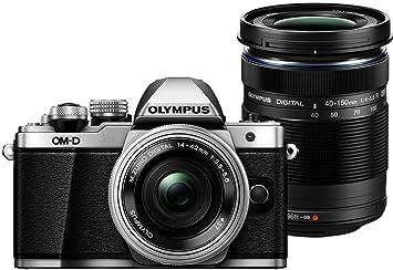 Olympus OM-D E-M10 Mark II Appareil Photo Numérique 17.2 Mpix - argent Kit Boîtier + Objectif 14-42 mm f3.5-5.6 ED EZ (argent) + Objectif 40-150 mm f4.0-5.6 ED R (Noir)