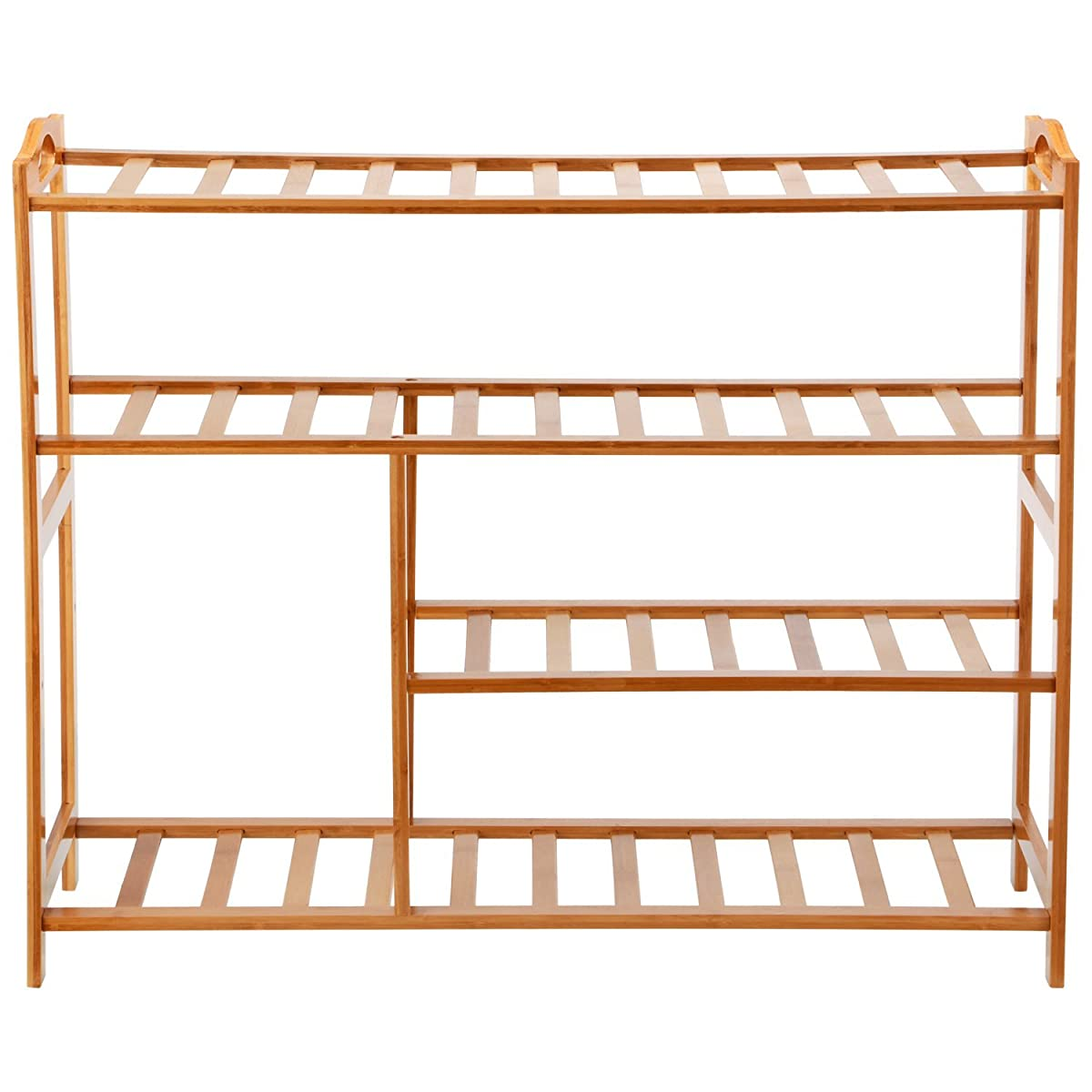 """Ollieroo Thickened Natural Bamboo Shoe Rack Shoe Shelf Storage Organizer for About 13 Pairs of Shoes Size 31.5""""X10.3""""X26"""" (4 Tier)"""