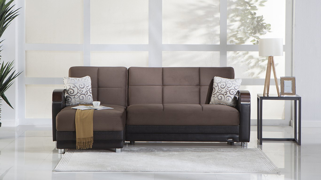 Luna Naomi Brown Sectional Sofa