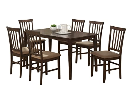 Baxton Studio Tiffany 5-Piece Wood Modern Dining Set, Espresso Brown