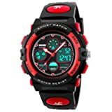Kid Watch 50M Waterproof Sport LED Alarm Stopwatch Digital Child Quartz Wristwatch for Boy Girl Red (Color: Red (DOUBLE DISPLAY))