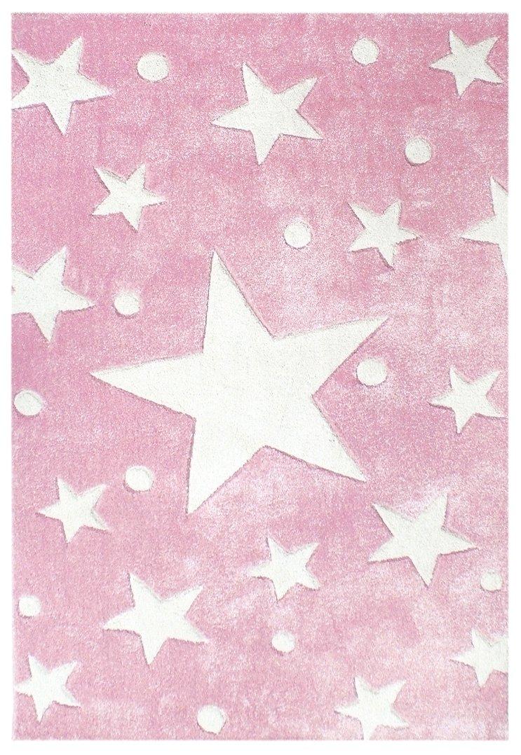 Kinderteppich Happy Rugs STARS rosa/weiß 120x180 cm