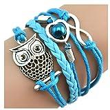 DOINSHOP Bracelet, Infinity Chain Cuff Jewelry Antique PU Leather Bracelet Charm (Owl [Blue]) (Color: Owl [Blue])