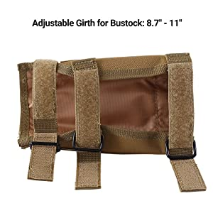 FUNANASUN Tactical Buttstock Cheek Rest with Rifle Shell Holder for 7.62.308.300 Winmag (Tan) (Color: Tan)