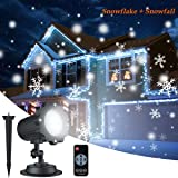 Christmas Snowflake Projector Lights, ALOVECO Rotating LED Snowfall Projection Lamp with Remote Control, Outdoor Waterproof Sparkling Landscape Decorative Lighting for Holiday Halloween Xmas Party (Color: Black)