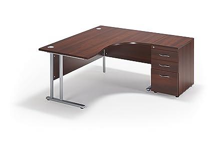 Walnut Curved Executive Office Cantilever Workstation And Desk End Pedestal Bundle