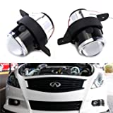 iJDMTOY (2) OEM Replace Projector Fog Light Housings For Nissan Altima Rogue Maxima Sentra, Infiniti M35 M45 G37 etc, HID or LED Ready (Bulbs Not Included)