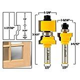 Yonico 18227 2 Bit Window Sash/ Glass Door Router Bit Set with 1/2-Inch Shank