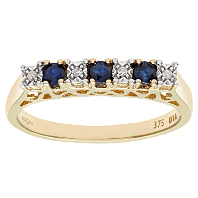 Naava 9ct Yellow Gold Diamond and Sapphire 7 Stone Eternity Ladies Ring