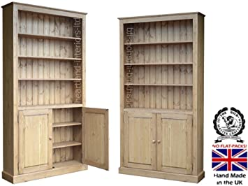 "Solid Pine Bookcase Cupboard, 7ft x 45"" Handcrafted & Waxed Adjustable Shelving Unit with Doors. Choice of Colours, No flat packs, No assembly (BK745C)"