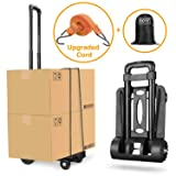 Folding Hand Truck Heavy Duty 155 lbs Loading Capacity 4 Wheel Solid Construction Compact and Lightweight Utility Cart for Luggage/Personal/Travel/Auto/Moving & Office Use Portable Fold Up Hand Cart (Color: 4 Wheel, Tamaño: 4 wheels)