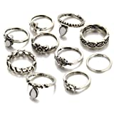 10Pcs/Set Retro Silver/Gold Plated Elephant Moon Crystal Joint Knuckle Stacking Band Nail Midi Ring Set