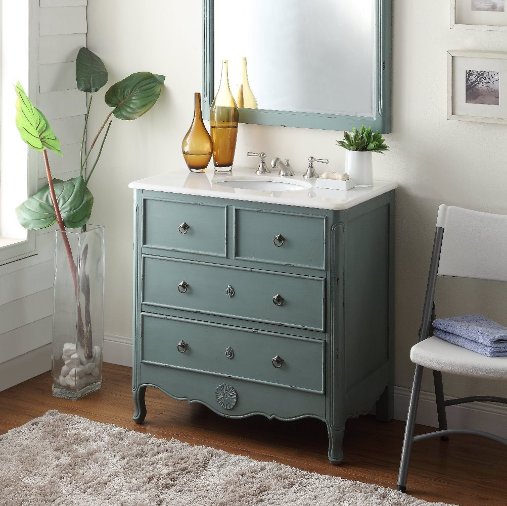 "34"" Cottage look Daleville Bathroom Sink Vanity - Model HF081Y (Vintage mint blue) 1"