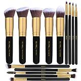 BS-MALL(TM) Premium 14 Pcs Synthetic Foundation Powder Concealers Eye Shadows (Golden Black) (Color: YGolden Black)