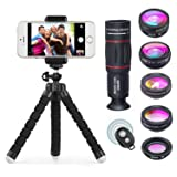 APEXEL Phone Camera Lens with 18x Telephoto Lens+Fisheye,Macro/Wide Angle Lens+Star,Kaleidoscope Filter+Tripod and Shutter 8 in 1 Cell Phone Lens Kit Fit For iPhone and other Smartphone (Color: APL-8IN1)