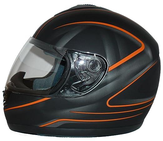 protectWEAR - Casque de moto noir mat orange conception V190-SO - XL