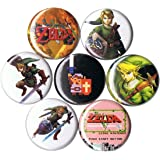 Set of 7 Legend of Zelda pins/buttons/badges