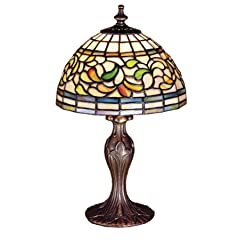 Meyda Tiffany Stained Glass Mini Table Lamp, Mahogany Finish