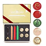 UNIQOOO Arts & Crafts 5 Stamps Christmas Wax Seal Stamp Kit- Merry Christmas, Santa Claus, Xmas Tree,Snowman, Angel, 3 Wick Wax Sticks Gift Box Set- Great for Holiday Decorations, Gift Ideas to Friend (Color: 5pcs Sealing Stamp Kit)