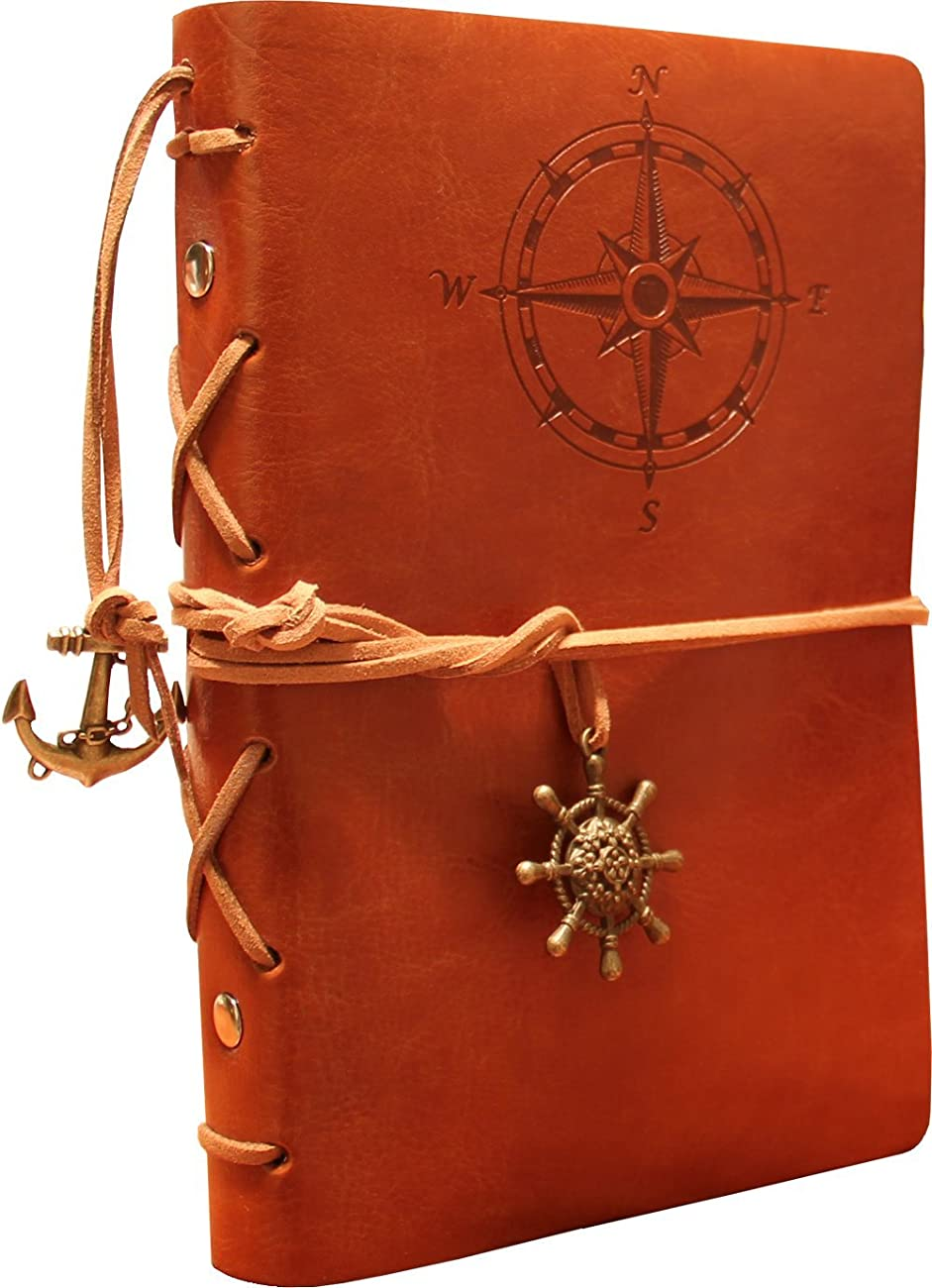 Classic Refillable Writing Journal (Naval Compass Embossing) - Vintage Leather (PU) Design- Includes Bamboo Pen 5