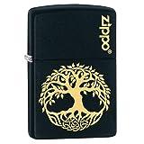Zippo Custom Lighter: Engraved Tree of Life - Black Matte 78813 (Color: Black Matte Tree)