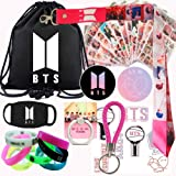 BTS Gift Set for ARMY, BTS Map of the Soul Personal, Inculding Drawstring Bag,Sticker,Bracelet,Lanyard,Mask,Phone Ring,Button (Color: pink, Tamaño: One_Size)
