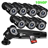 XVIM 8CH 1080P Security Camera System Outdoor with 1TB Hard Drive Pre-Install CCTV Recorder 8pcs HD 1920TVL Upgrade Outdoor Home Surveillance Cameras with Night Vision Easy Remote Access Motion Alert (Color: Black)