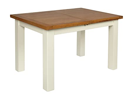 IVORY PAINTED OAK SMALL EXTENDING DINING TABLE WITH BUTTERFLY EXTENSION
